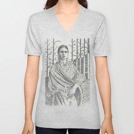 Frida Khalo and trees Unisex V-Neck