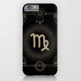 Golden zodiac virgo sign iPhone Case