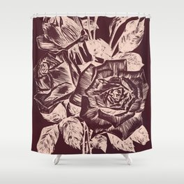 Burgundy in Rose Gold Shower Curtain