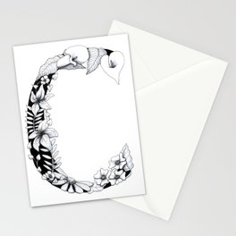 Floral Pen and Ink Letter C Stationery Cards