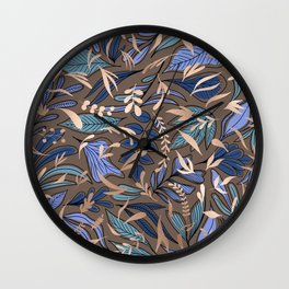 Blue Gold Espresso Floral Leaves Pattern Wall Clock