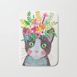 Cat with flowers Bath Mat