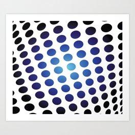 BLACK AND BLUE CIRCLES Abstract Art Art Print