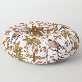 New Beginnings - Spring/Summer Floral Pattern With Robins, Branches & Flowers Floor Pillow