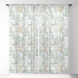 Woodland Animals in Winter Forest Sheer Curtain