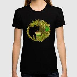 cat and green milk T-shirt