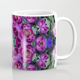 Floral finery - kaleidoscope of blue, plum, rose and green 1650 Coffee Mug