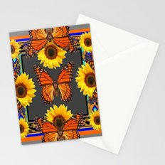 Western Grey & Orange Monarch Butterflies  sunflower Patterns Art For t Stationery Cards