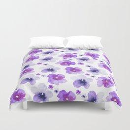 Modern purple lavender watercolor floral pattern Duvet Cover