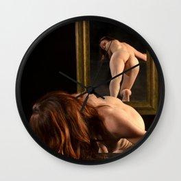 7823-AK Woman Viewing Herself in Mirror Fine Art Nude Wall Clock