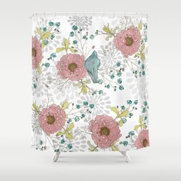 Blue Bird and Peonies Shower Curtain