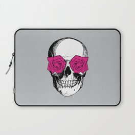 Skull and Roses | Grey and Pink Laptop Sleeve