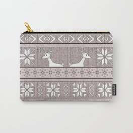 Hand drawn seamless knitted background in fair Isle style with deers and snowflakes Carry-All Pouch