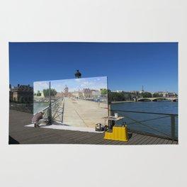 Painter On The Boardwalk (Seine, France) Rug