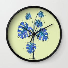 Monstera deliciosa blue version Wall Clock