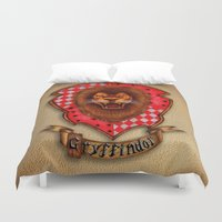 gryffindor Duvet Covers featuring Gryffindor shield emblem by JanaProject