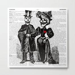 Calavera Couple | Skeleton Couple | Calaveras | Vintage Couple | Victorian Gothic | Dictionary Text Metal Print