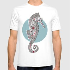 Seahorse #2 White Mens Fitted Tee MEDIUM
