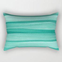 Green Watercolor Lines Pattern Rectangular Pillow