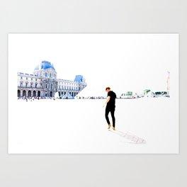 Walking in Paris. Art Print