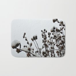 Snow on Sleeping Rose of Sharon Bath Mat