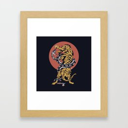 Classic Tattoo Snake vs Tiger Framed Art Print