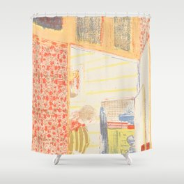 Interior with Pink Wallpaper II Shower Curtain