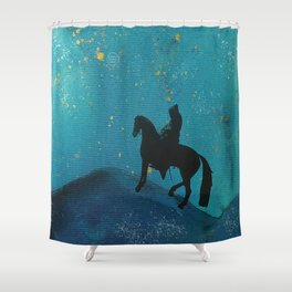 knight in blue Shower Curtain