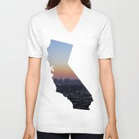 california V-neck T-shirts featuring California by jamester42
