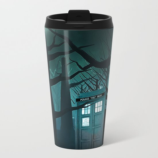 Tardis in the Forest of The Night Metal Travel Mug