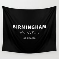 alabama Wall Tapestries featuring Birmingham, Alabama by Fabian Bross