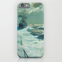Under Tow on a Moonlit Night nautical landscape ocean painting by Julius Olsson iPhone Case