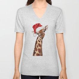 Christmas Giraffe Unisex V-Neck