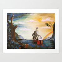 neverland Art Prints featuring Neverland by Art by Terrauh