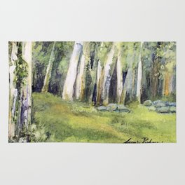 Woodland Landscape Watercolor Vermont Painting Birch Trees Spring Fields Rug