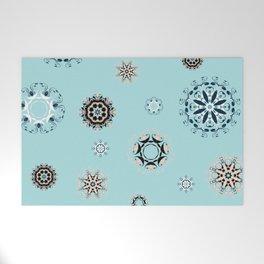 Blue Mandala, Pattern, Digital Design, Shapes Welcome Mat