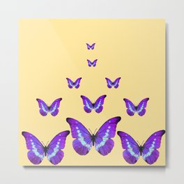 AMETHYST PURPLE BUTTERFLIES FLOCK CREAMY YELLOW Metal Print