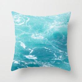 Turquoise Turbulence Throw Pillow