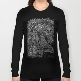 'Horse Insird by Dripped Abstract Pollock Style Long Sleeve T-shirt
