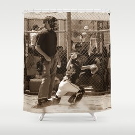 Hold Him Off Shower Curtain