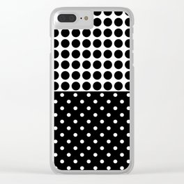 Black and white polka dot .3 Clear iPhone Case