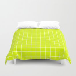 Chartreuse (traditional) - green color - White Lines Grid Pattern Duvet Cover