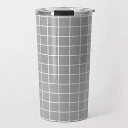 Quick Silver - grey color - White Lines Grid Pattern Travel Mug
