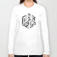 hexagon Long Sleeve T-shirts featuring Hexagon monochrome by eDrawings38