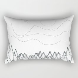 Minimal Mountain Forest Landscape Rectangular Pillow