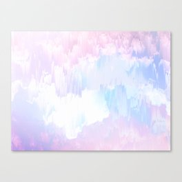 Sky Fall Dream Pastel Glitch - pink and blue Canvas Print