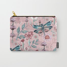 Rose Gold Dragonfly Garden | Pastel Carry-All Pouch