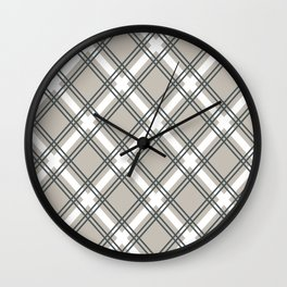 Greyscale Criss-Cross Simple Plaid Pattern Wall Clock