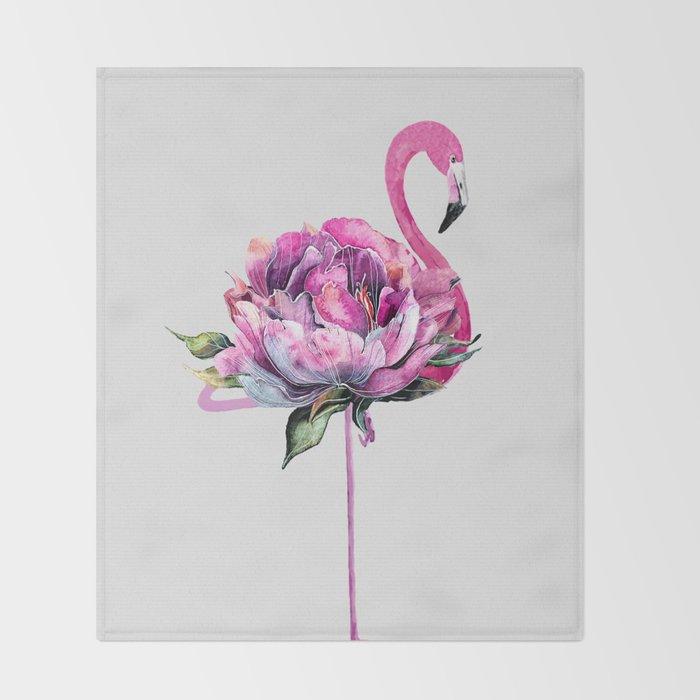 Flower Flamingo Throw Blanket