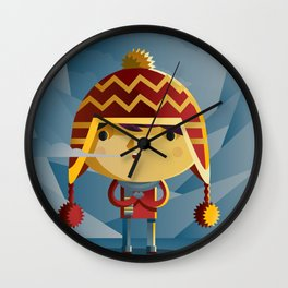 cute kid in the winter with a coy cap Wall Clock
